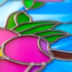 Details of the stained glass window - flowers. Bleiverglasung